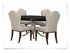 Haven Dark Tone Round Small Table & 4 Upholstered Chairs
