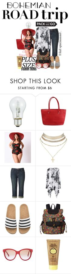 """plus size pack-n-go"" by daincyng ❤ liked on Polyvore featuring Esther Williams, Charlotte Russe, Simply Vera, adidas, Sakroots, Dolce&Gabbana, Sun Bum, plussize and thebestpolyvorians"