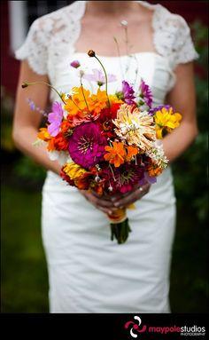orange, yellow, and purple bouquet