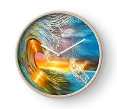 Clock, artistic,decorative,items,ocean,sunset,waves,horse,colorful,blue,modern,beautiful,awesome,cool,home,office,wall,decor,decoration,ideas,for sale,redbubble