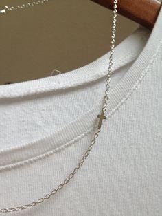 Silver Cross Necklace  Sideways Cross Charm by adieslovelies, $12.00