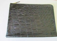Croc Embossed Black Leather Zip Tech Gear Portfolio MULBERRY made in England  #Mulberry #PortfolioZipperedTechGearHolder