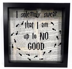 Harry Potter inspired shadow box frame. I solemnly swear that I'm up to no good