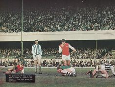 11th May 1968. The aftermath of Arsenal goalkeeper Bob Wilson save at the feet of West Brom quickie Clive Clark. Terry Neil comes in to protect Wilson while Clark and Bob mcNab get to their feet.