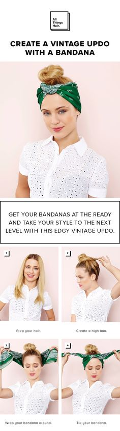 Learn how to create your very own vintage-inspired 'do with a bandana. Just follow our simple step-by-step tutorial! #Ad