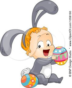Royalty-Free Vector Clip Art Illustration of a Toddler In A Bunny Costume, Playing With Easter Eggs by BNP Design Studio