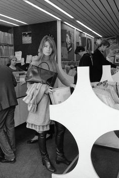 """isabelcostasixties: """" Françoise Hardy at a record store in London, 1969 """""""