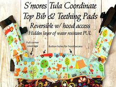 CHRISTINES NEW DESIGN FOR THE TULA TOP BIB NOW OFFERS FULL CORNER PROTECTION! This listing is for the Camp Out fabric in Aqua by Michael