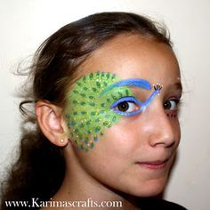 Karima's Crafts face paint painting designs ideas peacock for kids