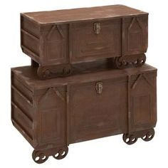 Inspired by railroad cars, this set of weathered wood trunks features castered front feet and raised detailing. Decorative Trunks, Decorative Boxes, Shabby Chic Theme, Wooden Trunks, Steampunk House, Trunks And Chests, Home Decor Furniture, Farmhouse Furniture, Industrial Furniture