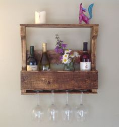 Reclaimed, repurposed, distressed pallet wood wine bottle / liquor bottle rack with wine glass holder and top shelf
