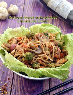 Mushroom, Broccoli and Noodle Salad in Hot and Sour Dressing recipe, Noodle Recipes Mushroom Broccoli, Mushroom Pasta, Broccoli Florets, Broccoli Salad, Noodle Salad, Noodle Recipes, Dressing Recipe, Apple Salad, Kinds Of Salad
