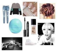 """""""Drive in movie with Suga"""" by laylarawlings on Polyvore featuring Converse, MAKE UP FOR EVER, Current/Elliott, LashFood and Eos"""