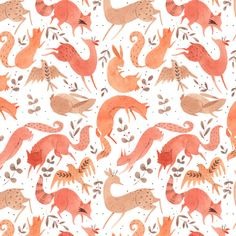 And another pattern! I don't really travel with my paints so my sketchbook and making patterns out of existing drawings is my main artistic outlet while I'm at my parent's for the holidays. Also available in my Society6 store!
