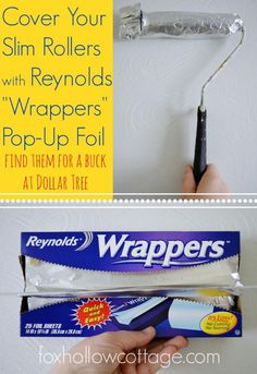 Reynolds Wrappers make great paint sleeve roller covers! This is a great tip for saving your roller when you have to take a painting break, but it also gives me an idea....I wonder what kind of texture that foil-wrapped roller would leave on the wall.  Hmmm - may have to try that one.