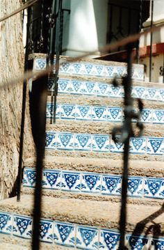 tiles on the stairs, blue and white tiles Tiled Staircase, Tile Stairs, Stair Steps, Stair Risers, Blue Tiles, White Tiles, Handmade Tiles, Decorative Tile, Spanish Style