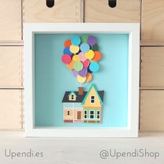 Picture house UP - Picture disney pixar - House with balloons up! - Embossed box made of cardboard - Disney decoration - Up movie picture Up Pixar, Up House Pixar, Disney Up House, Disney Pixar Up, Disney Valentines, Valentine Box, Disney Shadow Box, Up The Movie, Disney Christmas Decorations