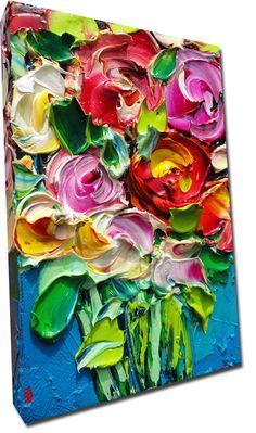 ORIGINAL Oil Painting Roses Art Palette knife Impasto par bsasik