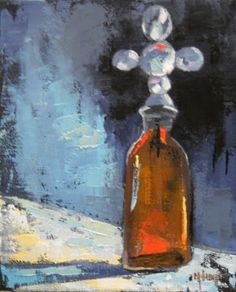 """Daily Painters of Florida: Still Life Painting, Bottle Painting, """"Cross Bottle II"""" by Carol Schiff"""