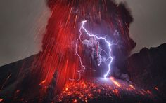 Sakurajima Volcano with Lightning    Seeing lightning flash across the sky often instills a sense of power and awe. Couple it with an volcanic eruption and...well, here it is.