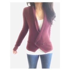 """Loft Maroon Knit Blazer Cardigan This blazer has a gorgeous color & a chic style, it's easy to dress up or down & light enough to wear in different seasons. {actual color of item may vary slightly from photos}  •shoulders:19"""" •chest:17"""" •waist:15.5""""w •length:22.5"""" •sleeve:25.5""""  Material:50%acrylic 50%wool ️️️️️hand wash  Fit:could work for a sml  Condition:no rips no stains  ❌no holds ❌no trades ♥️️bundles of 3/more items get 20% off LOFT Sweaters Cardigans"""