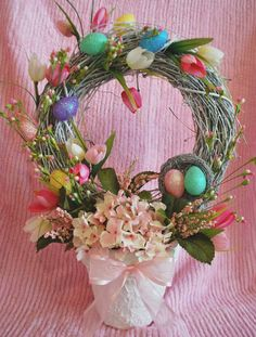 Easter wreath topiary tutorial ~ I would be happy with just the wreath ~ cozyhomescenes