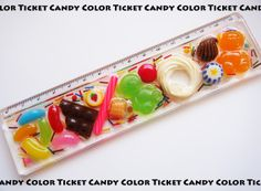 $CANDY COLOR TICKET/スイーツデコアート Diy Resin Art, Resin Crafts, Fake Food, Decoden, Candy Colors, Handmade Art, Diy And Crafts, Polymer Clay, Stationery