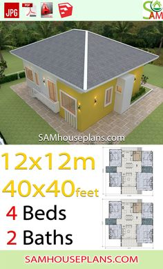 House Plans Meter 4 Bedrooms Hip roof Feet The House has:One-story bathrooms,living roomKitchen,Dinning room, Hip Roof, One Story Homes, Story House, House Roof, Living Room Kitchen, House Plans, Bedrooms, Shed, Floor Plans