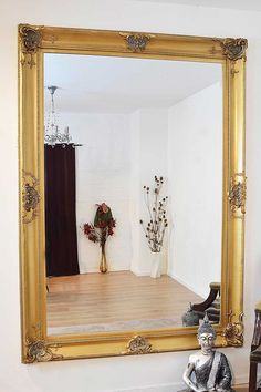 Beautiful Large Gold Decorative Ornate Wall Mirror 7ft x 5ft (213 x 152cm)