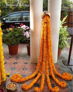 Floor decor with marigold rangoli. Diwali Decorations At Home, Stage Decorations, Festival Decorations, Flower Decorations, Desi Wedding Decor, Bohemian Wedding Decorations, Diwali Diy, Diwali Craft, Janmashtami Decoration