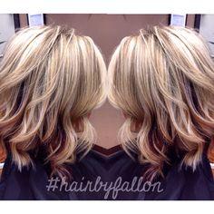 Platinum blonde with bright auburn peekaboos