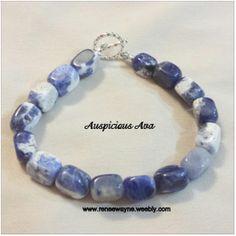 Blue and white stone bracelet www.reneewayne.weebly.com