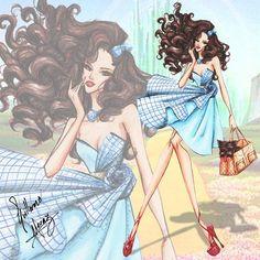 Guillermo Meraz - The Wizard of Oz Anniversary Collection Somewhere over the Rainbow Dorothy Disney Style, Disney Art, Arte Fashion, Fashion Design, Costume Design Sketch, Creation Art, Beautiful Drawings, Fashion Sketches, Fashion Illustrations
