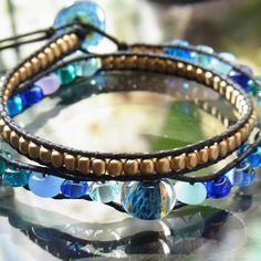 Glass beads wrap bracelet