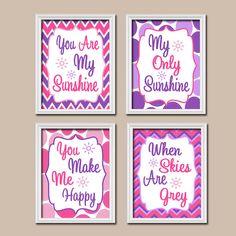 Girl Pink Purple Pattern  You Are My Sunshine by SunshinePrinting,