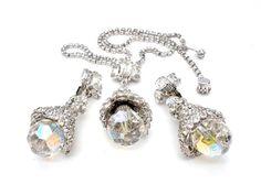 AB Crystal Rhinestone Vintage Necklace by TheJewelryLadysStore