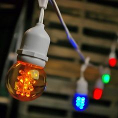 Commercial LED Globe Drop String Lights 100 Foot White Wire Multi Color