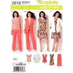 Easy Plus Size Pattern Simplicity 2618 Dress Top Jacket Vest Pants Womens Size 20 to 28 UNCUT - product images  of