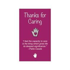 """Heart in Hand Lapel Pin on """"Thanks for Caring"""" Appreciation Card.  From Promotions Now."""
