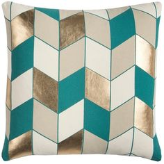 Teal and Tan Metallic Herringbone Pillow (660 MXN) ❤ liked on Polyvore featuring home, home decor, throw pillows, teal throw pillows, geometric home decor, teal home accessories, metallic home decor and gold accent pillows