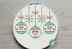 """""""Christmas cross stitch pattern. Christmas baubles. The pattern comes as a PDF file that you'll will be able to download immediately after purchase. In addition the PDF files are available in you Etsy account, under \""""My Account\"""" and then \""""Purchase\"""" after payment has been cleared. You get a pattern in colorblocks and symbols, a pattern in black and white symbols, and a list of the floss colors you'll need. You also get an PDF file with cross stitch instructions. PATTERN INFORMATION Stitches: Cross Stitch Christmas Ornaments, Christmas Cross, Christmas Baubles, Merry Christmas, Xmas, Christmas Decorations, Cross Stitch Tree, Cross Stitch Books, Modern Cross Stitch Patterns"""