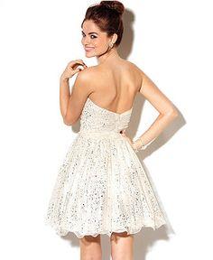 Morgan Juniors Dress, Strapless Metallic A-Line - Juniors Prom Dresses - Macy's