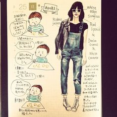 「突然言われるとびっくりする、5月25日の日記。 #何きっかけで覚えたのかな #肩のせ防犯 #斬新 #カズン #絵日記 #コーディネート #fashion  #ほぼ日 #ほぼ日手帳 #ほぼ日umu #サングラス #オーバーオール」
