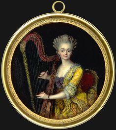 Dame in gelbem Kleid, Harfe spielend, Französisch, um 1770.