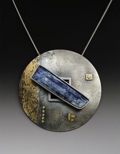 Neckpiece | Roger Rimel.  Sterling silver, 14 k. gold fused on sterling, yellow sapphire, white sapphire, kyanite