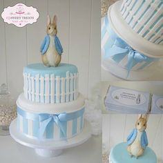 Beatrix Potter cake Peter Rabbit cake by CJ Sweet Treats Peter Rabbit Cake, Peter Rabbit Birthday, Peter Rabbit Party, Baby Cakes, Baby Shower Cakes, Christening Cake Boy, Baby Boy Baptism, Christening Decorations, Baby Baby
