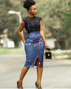 _its_eyramgh in Denim X Ankara skirt in Latest African Fashion Dresses, African Print Dresses, African Print Fashion, Africa Fashion, African Dress, African Attire, African Wear, African Women, African Style