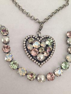 Big Swarovski crystal heart pendant - removable - spring colors - green - pearl - not Sabika on Etsy, $45.00