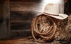 drawing bales of hay | ... , ковбой, wall, white hat, straw, wood, rope, cowboy