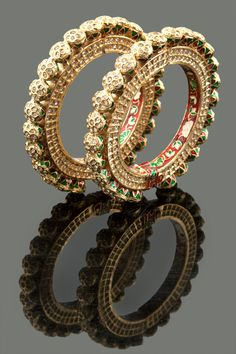 American diamonds embedded jadau kada with meenakari in gold plating